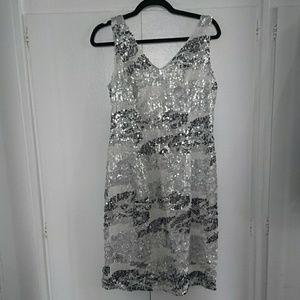 STUDIO ONE Silver White Sequin Dress Sz 12 NEW